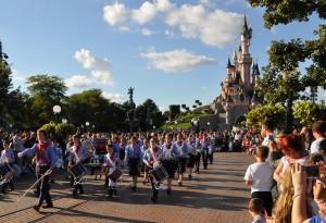 The band parading down Main Street
