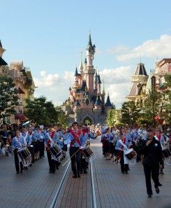 The band parading down Main Street